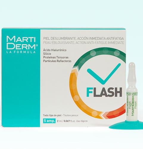 Nuestra ampolla Flash consigue efecto tensor, acción antifatiga con un extra de luz y disimula visualmente pequeñas arrugas e imperfecciones.