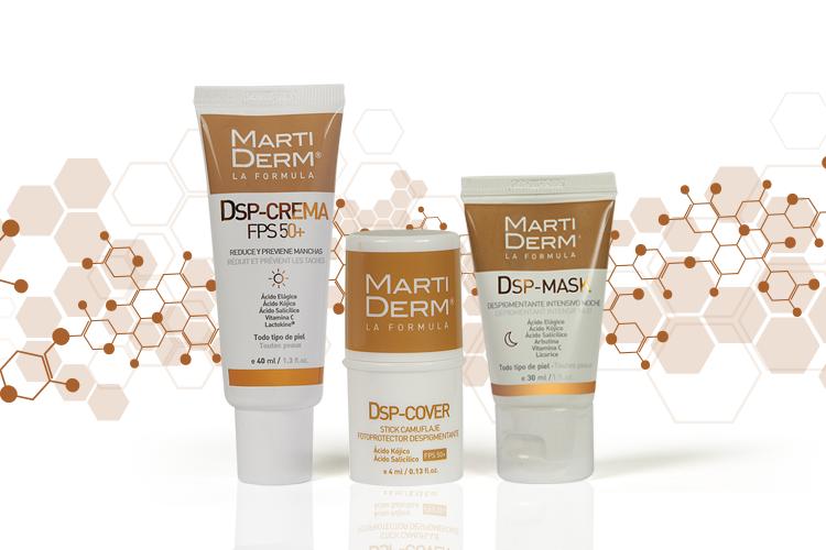 La línea DSP de Martiderm cuenta con cinco productos que se adaptan a cada tipo de piel, a cada rutina y a cada tipo de mancha.